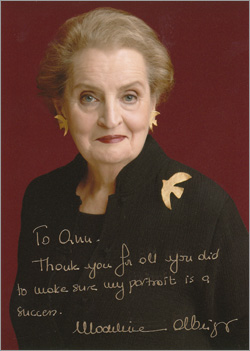 Madeline Albright portrait with inscription