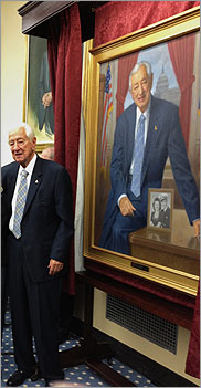 The Honorable Ralph Hall with portrait
